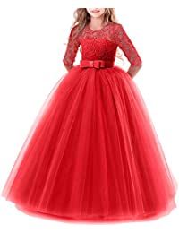 Girls Tulle Lace Flower Wedding Bridesmaid Dress Floor Length Princess Long A Line Pageant Formal Prom