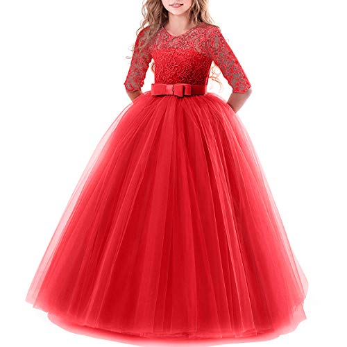Toddler Girl's Embroidery Tulle Lace Maxi Flower Girl Wedding Bridesmaid Dress 3/4 Sleeve Long A Line Pageant Formal Prom Dance Evening Gowns Casual Holiday Party Dress Red# 9-10 ()