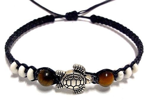 [Sea Turtle steel Bracelet Turtle Hemp Bracelet Hawaiian Sea Turtle Bracelet -Tiger Eye Stone Beads] (Dance Moms Amber Alert Costumes)
