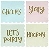 Fun Cocktail Napkins - 100-Pack Disposable Paper Napkins with Scalloped Edges, 4 Gold Foil Designs, All-Occasion Party Supplies, 3-Ply, Pastel Blue, Pink, Green, and Yellow, Folded 5 x 5 Inches