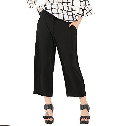 OMONSIM Front Zipper Wide Leg Pants Petite Super Stretch Straight Leg Pull On Pant (Medium, Black)