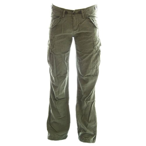 Molecule Women's Jungle Jeans Relaxed Fit Mid Rise Green Cargo Pants | USA 10/L (Tag 2XL) Field Green ()