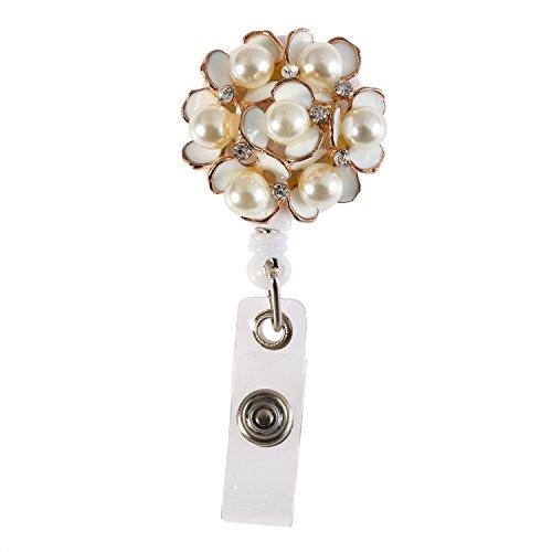 Handmade Fashion Luxury Retractable Bling Alloy Pearl Flower Badge Reel Clip Holder,Rhinestone Medical Nurse Badge ID, Badge Holder, ID Badge Holder, Office Employee Name Badge Reel Clip ()