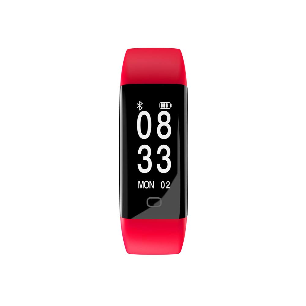 HR Smart Watch, Charging Watch Large OLED Display Screen Bracelet Sports Blood Pressure/Oxygen Heart Rate Fitness Smart Watch Wrist Band Social Contact (Red)