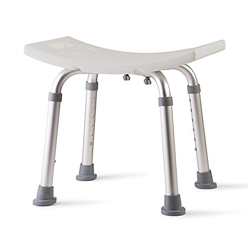 Active Authority Adjustable Skidproof Curved Aluminum Bath Bench without Back, White - up to 300lbs by Active Authority