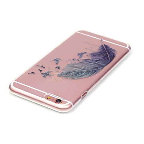 Custodia iPhone 6 / 6S , LH Piuma Trasparente Silicone Morbido TPU Case Cover Custodie per Apple iPhone 6 / 6S 4.7
