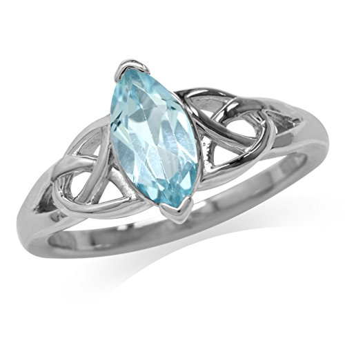 (Silvershake 1.19ct. Genuine Blue Topaz White Gold Plated 925 Sterling Silver Triquetra Celtic Knot Ring Size 6)