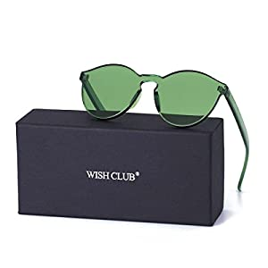 WISH CLUB Cat Eye Rimless Sunglasses for Women Oversized Lightweight Transparent Glasses Candy Color Eyewear (Green)