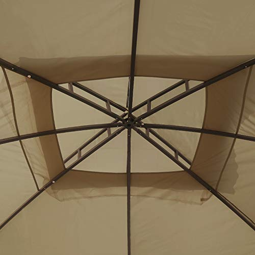 MASTERCANOPY Patio 10X12 Bermuda Gazebo Canopy Soft Top with Mosquito Netting (Coffee-Cream)