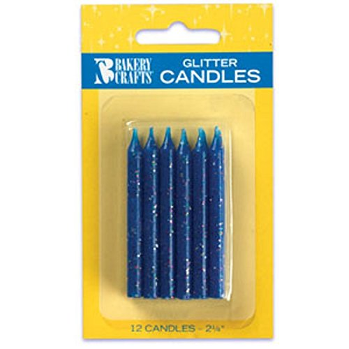Oasis Supply Glitter Birthday Candles, 2.25-Inch, Blue