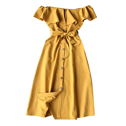 Smdoxi Summer New Trend Dress Bohemian Floral Simple Casual Skirt Ladies Shirt T-Shirt Yellow