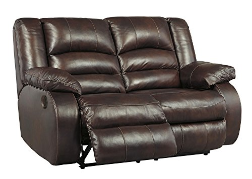 Rustic Loveseat Leather (Signature Design by Ashley 1700174 Levelland Power Reclining Loveseat, Cafe)