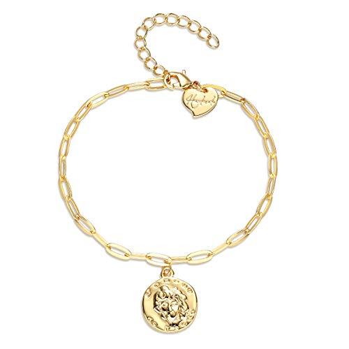 Dainty Gold Coin Bracelet,L'Amour De Paris Gold Two Sided Figure Coin Medallion Pendant Charm Bracelets for Women