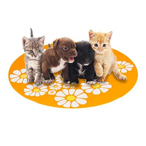 ❤️Jonerytime❤️ Small Flower Pet Water Dispenser Silicone Pet Mat Anti-Splash Anti-Slip Pet Mat (Orange)