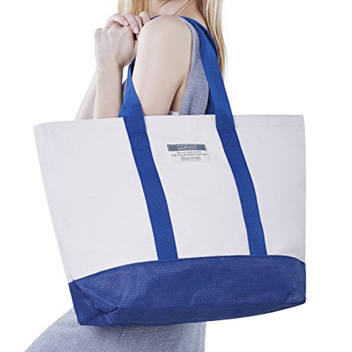 CGear Sand Free Boat Tote V, Soft White Cotton Canvas with Navy or Pink Accents- Sand, Dirt, and Dust Free - Perfect for Vacations, Boating, Picnics and more- UV Tested, Quick Dry, Mold Resistant