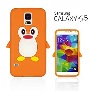 OnlineBestDigital - Penguin Style Soft Silicone Case for Samsung Galaxy S5 - Orange with 3 Screen Protectors and Stylus