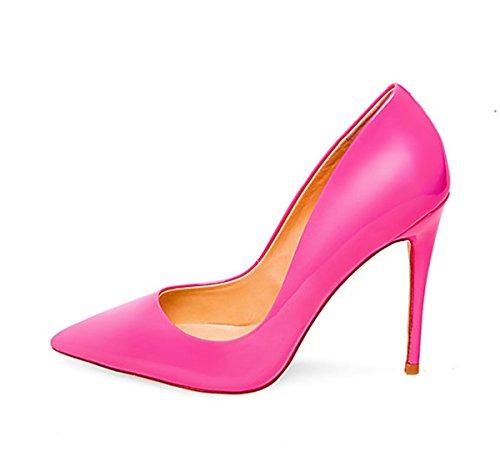 Guoar Kvinners Stiletthæl Plus Size Solide Sko Spisse Tå Patent Pumper For Bryllupsfesten Kjole Baby Rosa Patent