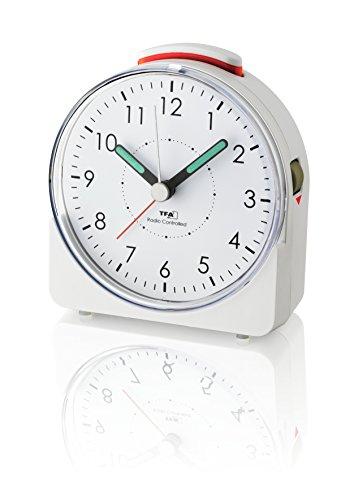 Price comparison product image TFA-Dostmann 60.1513.02 Analogue Alarm Clock,  Plastic,  White,  10.2 x 4.6 x 11 cm