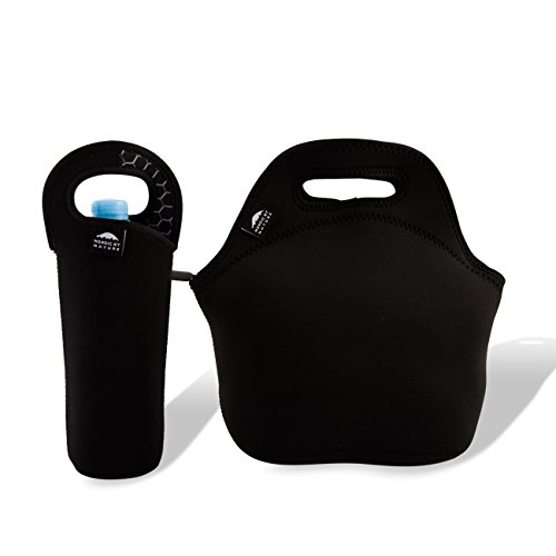 Insulated Neoprene Lunch Set: Lunch Bag + Water Bottle Sleeve | Lightweight With Rugged Zipper & Space for Larger Lunches | Washable, Nontoxic, Black with Metal Interior by Nordic by Nature