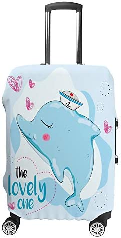 スーツケースカバー 伸縮素材 トランク カバー 洗える 汚れ防止 キズ保護 盗難防止 キャリーカバー おしゃれ 可愛い イルカの絵 ポリエステル 海外旅行 見つけやすい 着脱簡単 1枚入り