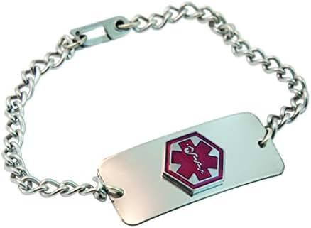 Emerg Alert Medical Alert Emergency ID Bracelet and Wallet Card -