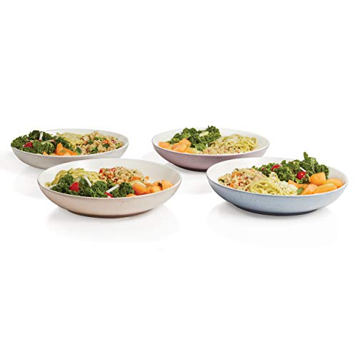 Libbey 92321 Urban Story 4-piece MultiColor Ceramic Entree Bowl Set, 10 in in, Purple/Taupe/Blue/Grey