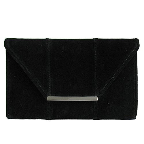 JNB Suede Block Envelope Clutch - (Black, Fuchsia, Royal Blue, Turquoise)