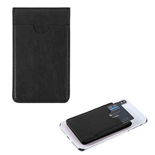 Pocket+Stylus, Fits Universal Samsung HTC Motorola MYBAT Black Leather Adhesive Card Pouch/Stand. Soft Spandex Sleeve Secure Wallet.Fits Most Phones,Tablets,Gadgets w Flat Surface.See Models Below: