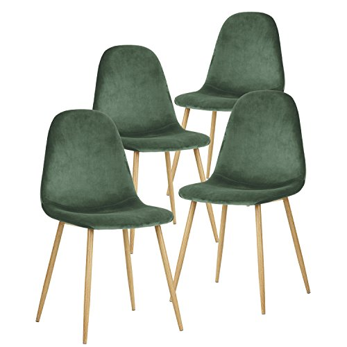 GreenForest Dining Chairs for Kitchen, Mid Century Modern Side Chairs,Velvet Upholstered Dining Chair with Metal Legs Set of 4,Cactus