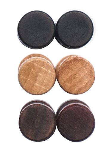 3 Pairs Wood Wooden Vintage Round Circle Fake Cheater Plugs Tunnel Mens Womens Stainless Steel Stud Earrings (8mm)