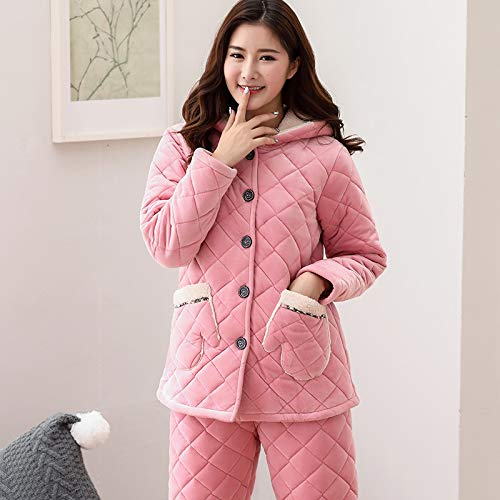 Suit Long Xxl164 Cotton sleeved Pajamasx Women's Service Home layer 75kg Hooded Cute 65 Thick Coral Three 172cm Winter Pajamas Velvet RqtwvzxqZa