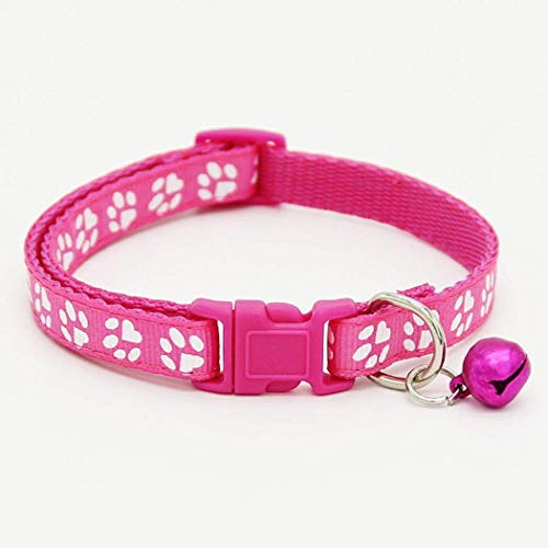 Gonikm Basic Classic Padded Leather Pet Collars Cats Puppy Small Medium Dogs (Rose red)