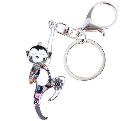 Luckeyui Lovely Monkey Keychains for Women Black Enamel Monkey Charm Keyring Gift]()