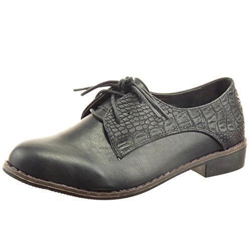 Sopily - Scarpe da Moda scarpa derby alla caviglia donna pelle di serpente  Tacco a blocco