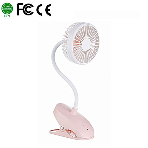 Per USB Rechargeable Mini Fan With Clip 5.12In Flexible Desk Fans Adjustable Wind Speed For Home Office Stroller Portable-Pink by Per