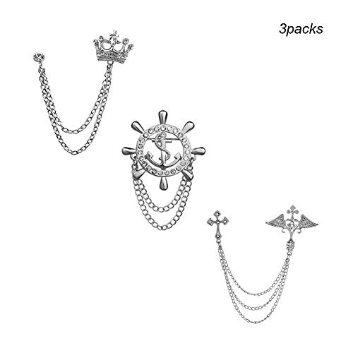 Huture 3packs Crown Tassel Chain Brooch Lapel Pin Men's Elegant Lapel Pin Cross Brooch Badge Brooch Pin Rhinestone Crown Badge Vintage Corsage for Men Tie Hat Scarf Suit Tuxedo Silver Color