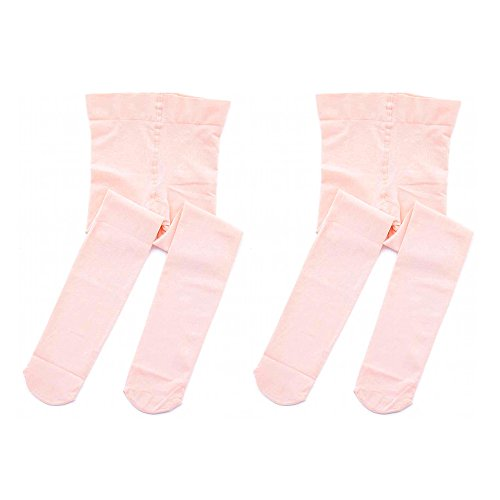 STELLE Girls' Ultra Soft Pro Dance Tight/Ballet Footed Tight (Toddler/Little Kid/Big Kid)(XXS, 2-Pair-Ballet Pink) by STELLE