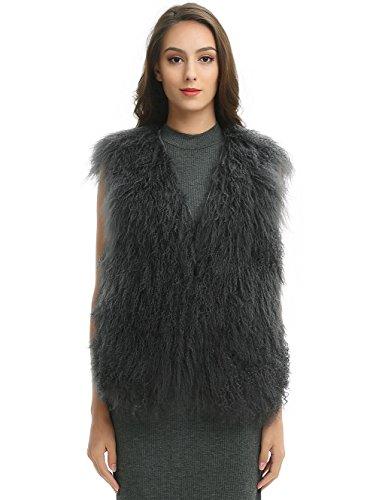 Ferand Elegant Sleeveless Genuine Mongolian Lamb Fur Winter Vest For Women, Dark Grey, X-Large