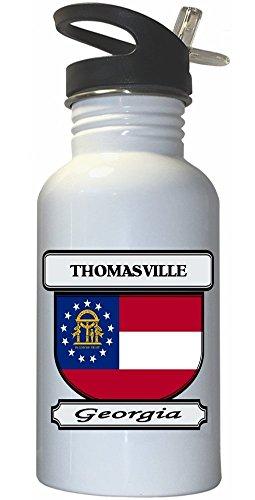 thomasville-georgia-ga-city-white-stainless-steel-water-bottle-straw-top