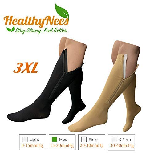 HealthyNees 15-20 mmHg Zipper Compression Extra Wide Plus Size Very Big Large Calf Knee High Fit Leg Fatigue Circulation Support Stocking Closed Toe Sock (Combo 3XL) [並行輸入品] B07QMT25PD