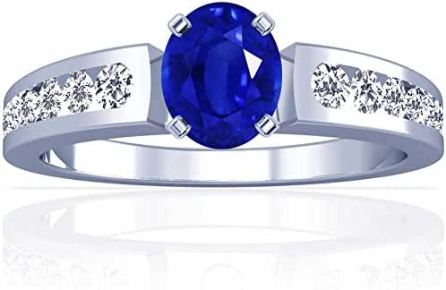 Platinum Oval Cut Blue Sapphire Ring With Sidestones