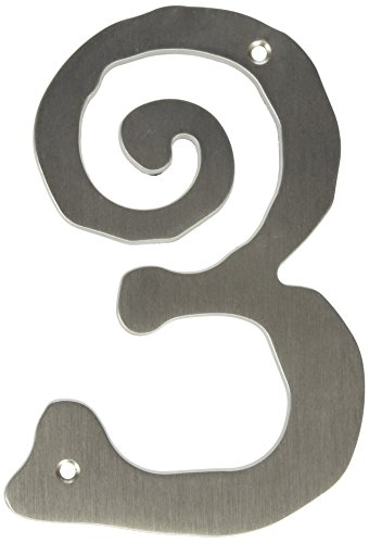 Atlas Homewares SCN3L-BRN 5.5-Inch Large Scroll #3 from the Scroll Collection, Brushed Nickel