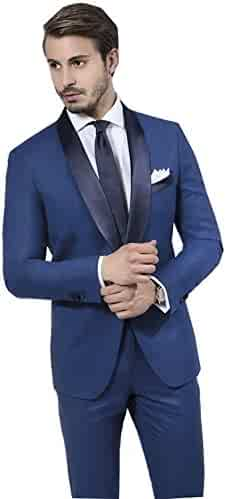 de635c0d37b5 YSMO Men's Shawl Lapel 2 Pieces Suits One Button Blazer Jacket & Pants  Wedding Tuxedos