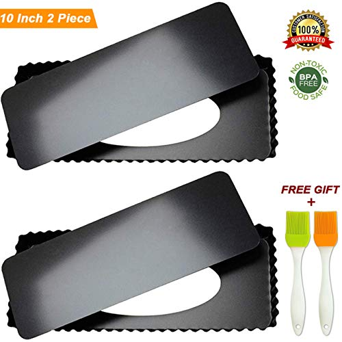 (Tart Pie Pan 10 Inch with Removable Loose Bottom Non-Stick Rectangular Fluted Flan Quiche Pizza Cake Pans Carbon Steel 2PCS)