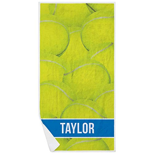ChalkTalkSPORTS Personalized Tennis Premium Beach Towel | Ball Background | Blue