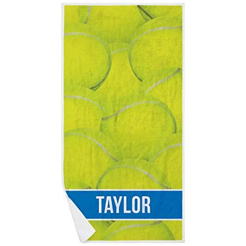(ChalkTalkSPORTS Personalized Tennis Premium Beach Towel | Ball Background | Blue)