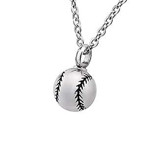 Bluesnow Baseball Urn Keepsake Pendant Necklace, Stainless Steel Memorial Ash Cremation Jewelry