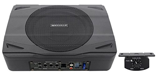 Rockville SS8P 400w 8″ Slim Under-Seat Active Powered Car/Truck Subwoofer Sub