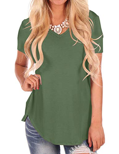 NIASHOT Women's Short Sleeve Basic Plain T Shirts V Neck Army Green M - Blouse Front Tuck