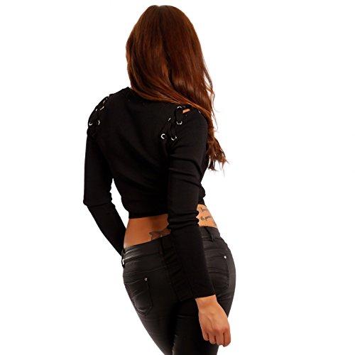 Lunghe Donna fashion Maniche Basic Maglione Young Nero UxaIn